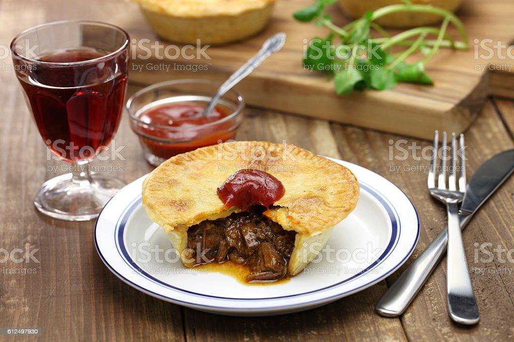 homemade aussie meat pie stock photo