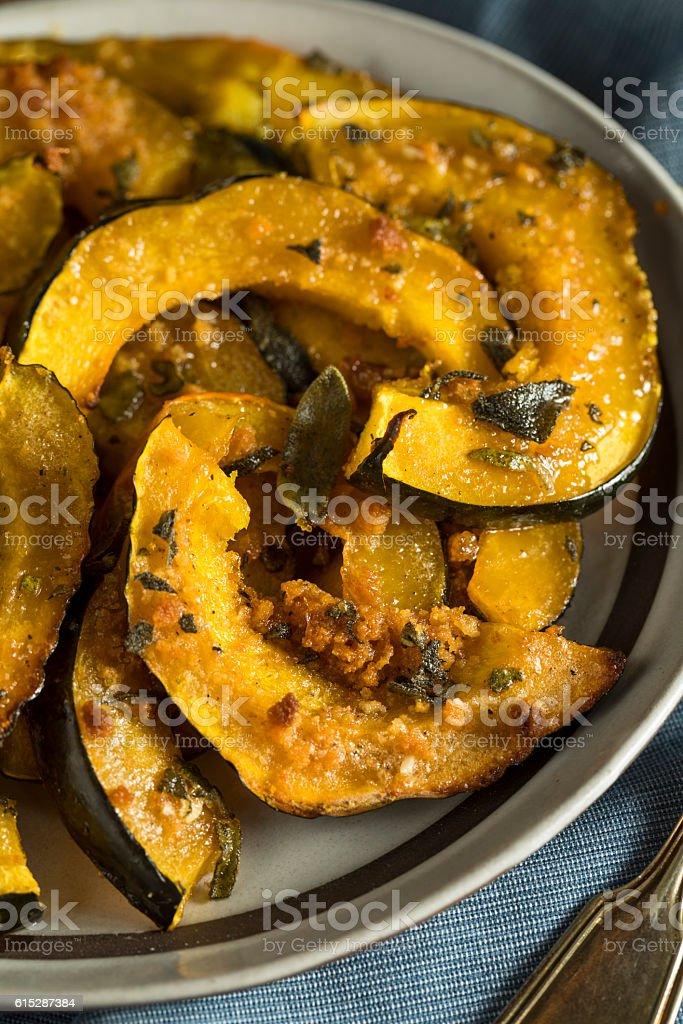 Homemade Autumn Baked Acorn Squash stock photo