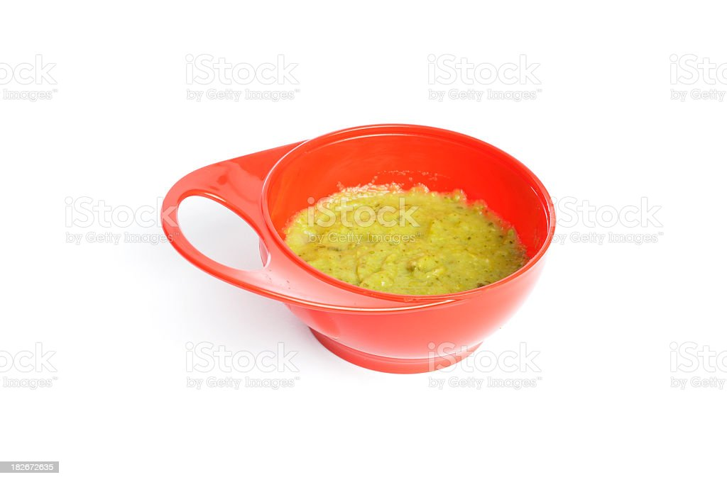 Homemade Baby Food Isolated On White stock photo