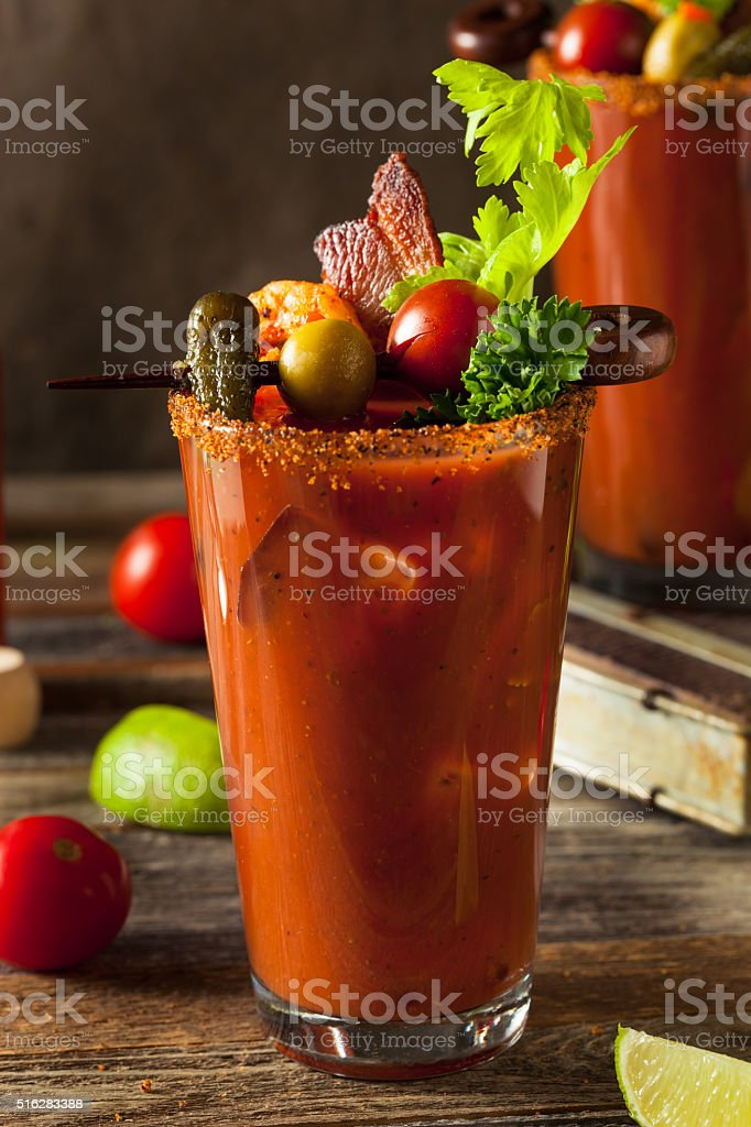 Homemade Bacon Spicy Vodka Bloody Mary stock photo