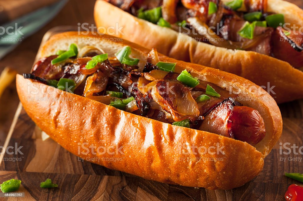 Homemade Bacon Wrapped Hot Dogs stock photo