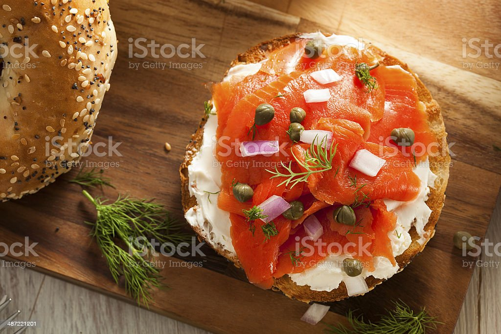 Homemade Bagel and Lox with Cream Cheese and Dill stock photo