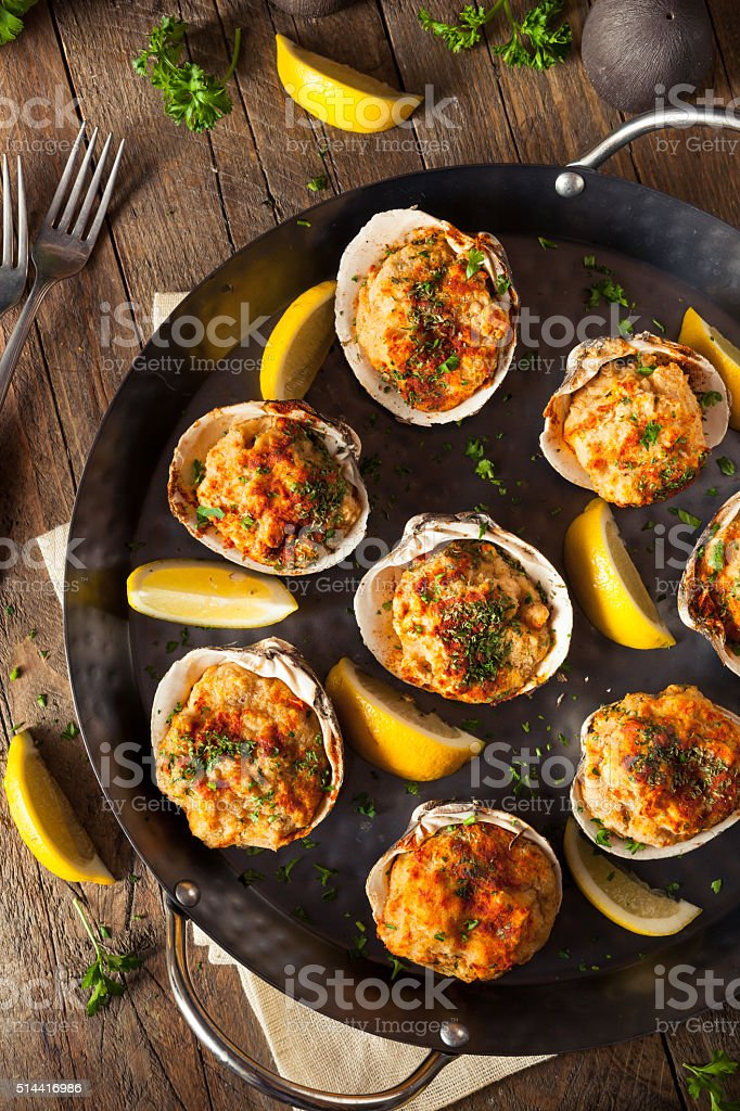 Homemade Baked Clams with Lemon stock photo