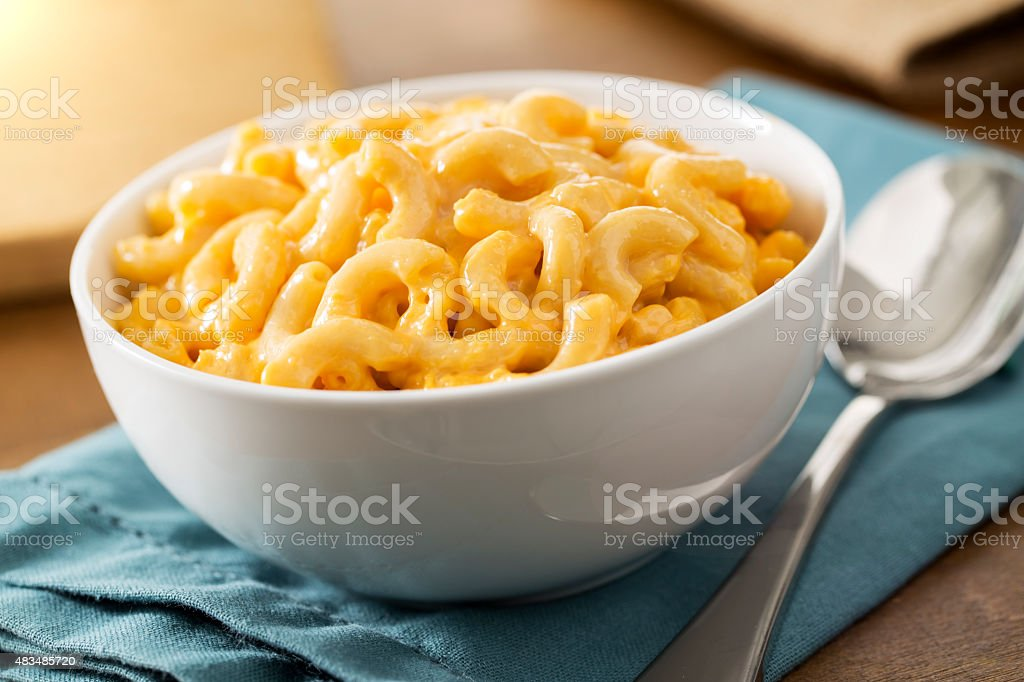 Homemade baked creamy macaroni and cheese stock photo