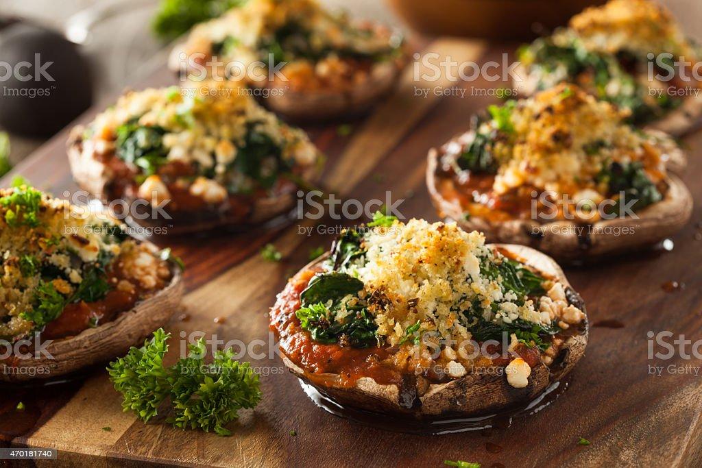 Homemade Baked Stuffed Portabello Mushrooms stock photo