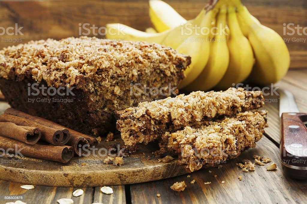 Homemade banana cake stock photo
