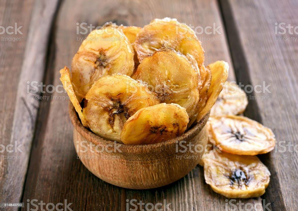 Homemade banana chips stock photo