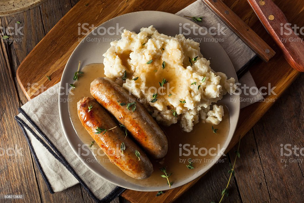 Homemade Bangers and Mash stock photo