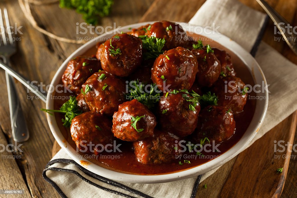 Homemade Barbecue Meat Balls stock photo