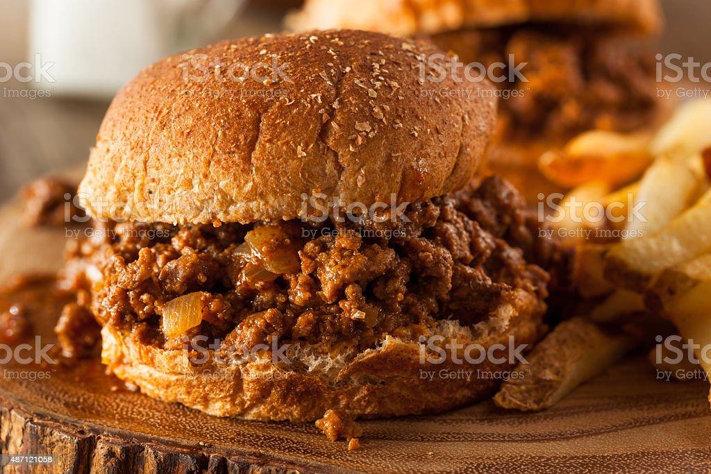 Homemade BBQ Sloppy Joe Sandwiches stock photo