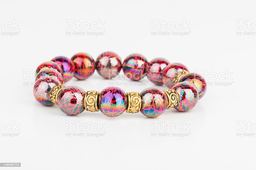 Homemade bead jewelry. stock photo