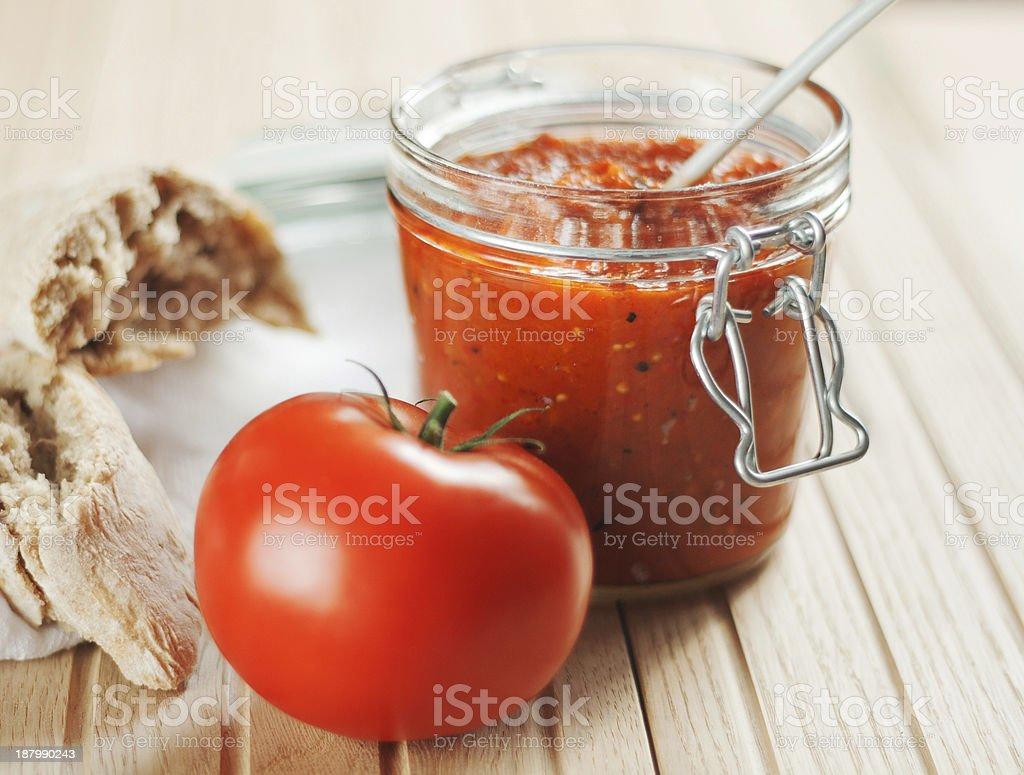 Homemade Bell Pepper Chutney stock photo