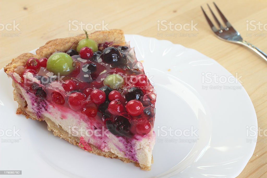 Home-made berry cheesecake on a plate royalty-free stock photo