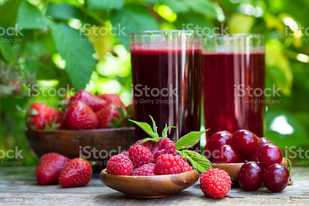 Homemade berry fruit  juice stock photo