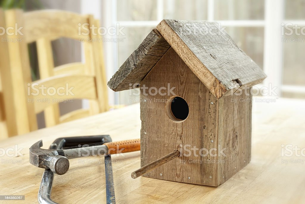 Homemade Birdhouse royalty-free stock photo