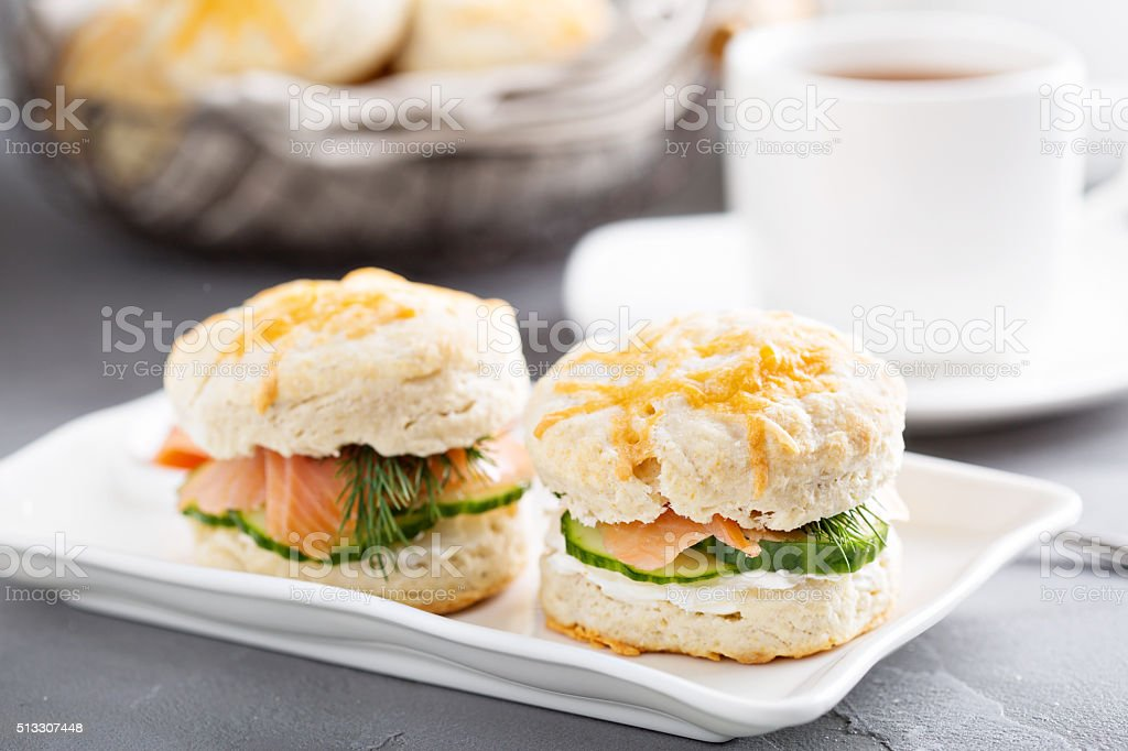 Homemade biscuits with cream cheese and lox stock photo