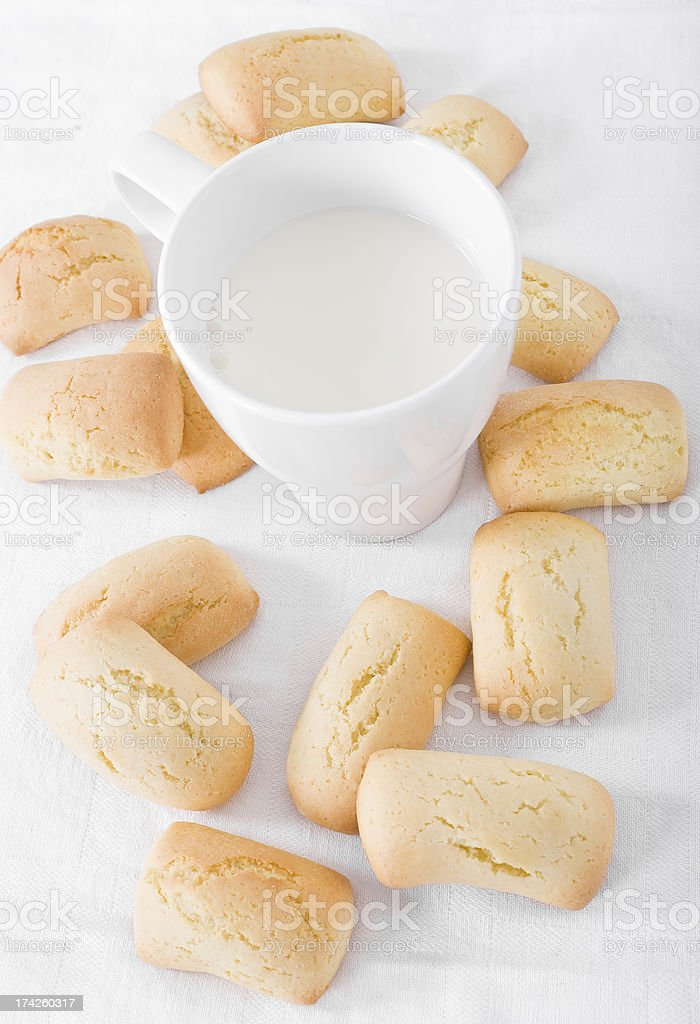 Homemade biscuits with milk cup. royalty-free stock photo