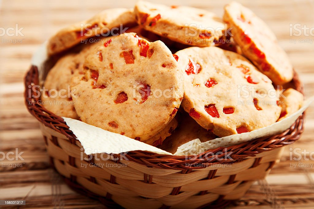 Homemade biscuits with peppers royalty-free stock photo