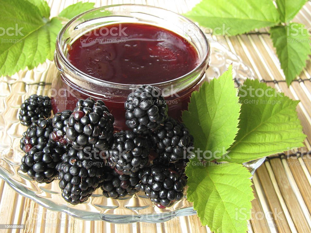 Homemade blackberry jelly - Brombeergelee stock photo