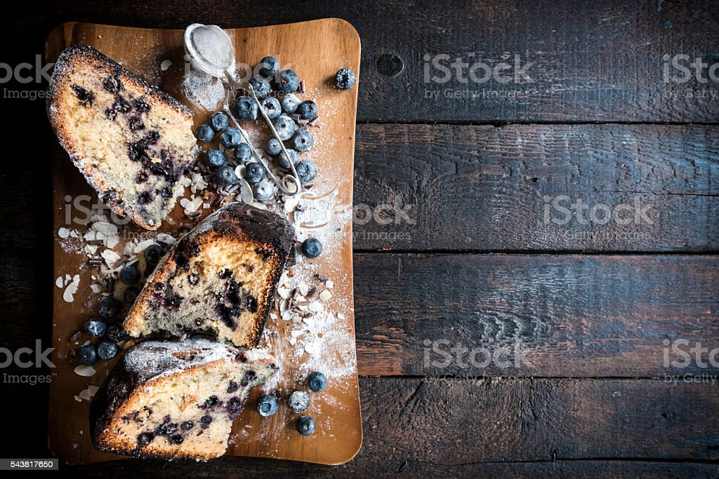 Homemade blueberry cake stock photo