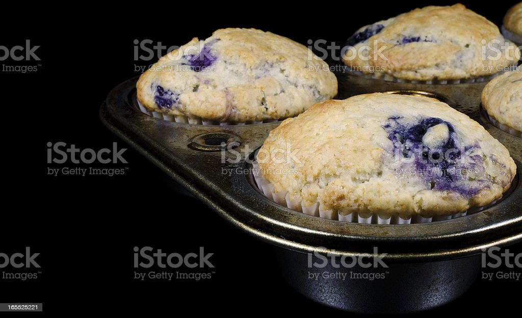 Homemade Blueberry Muffins in an Old Pan royalty-free stock photo