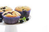 Homemade Blueberry muffins isolated on white, selective focus