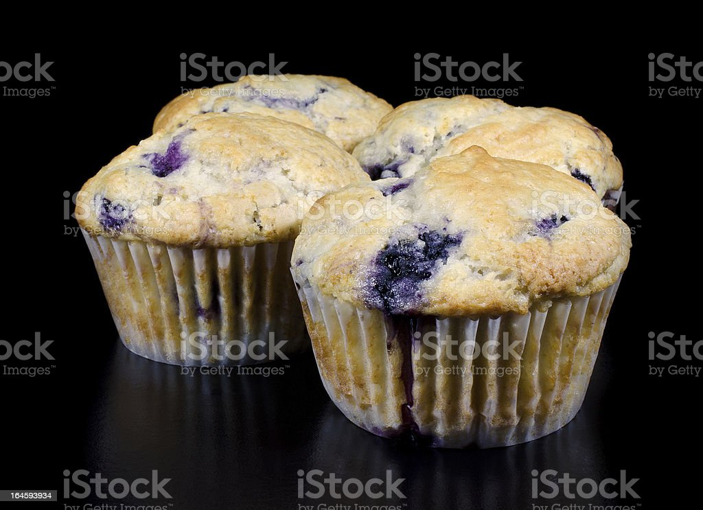 Homemade Blueberry Muffins on Black Background royalty-free stock photo