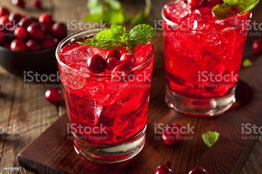 Homemade Boozy Cranberry Cocktail stock photo