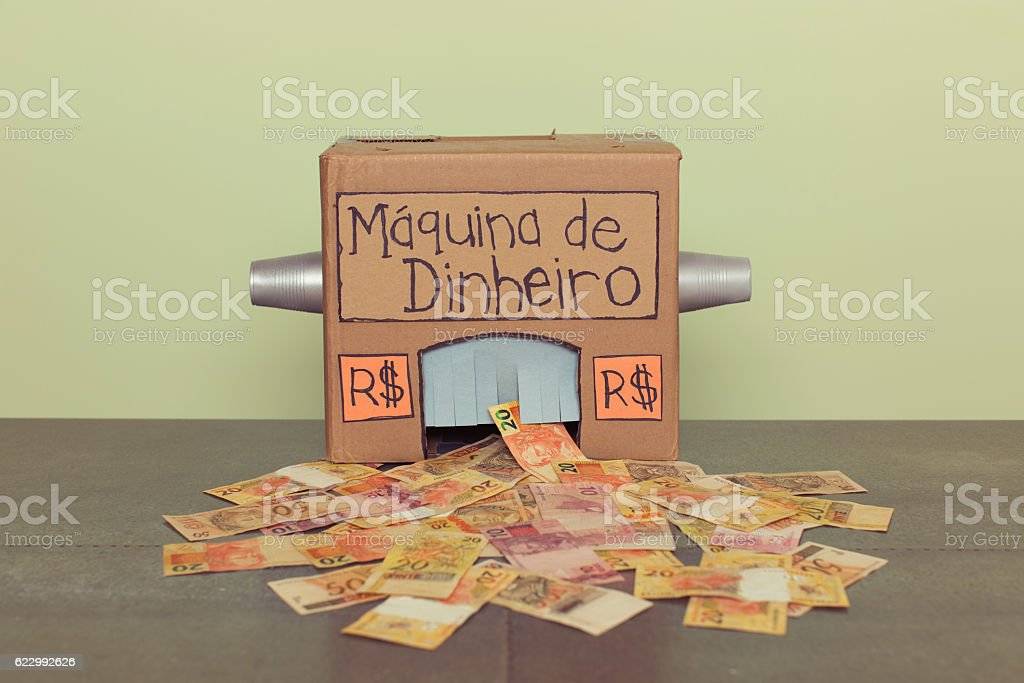 Homemade Brazilian Real Making Money Machine stock photo