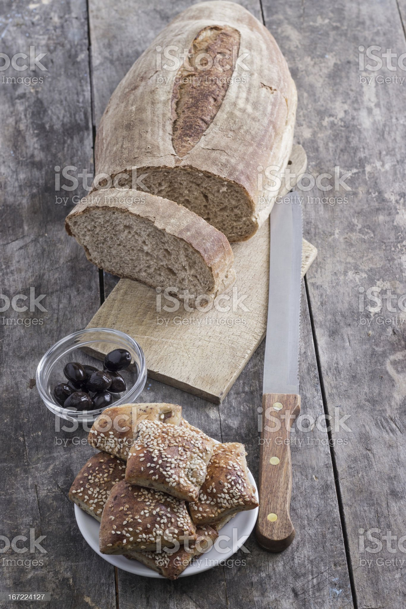 homemade bread and scones with olives royalty-free stock photo