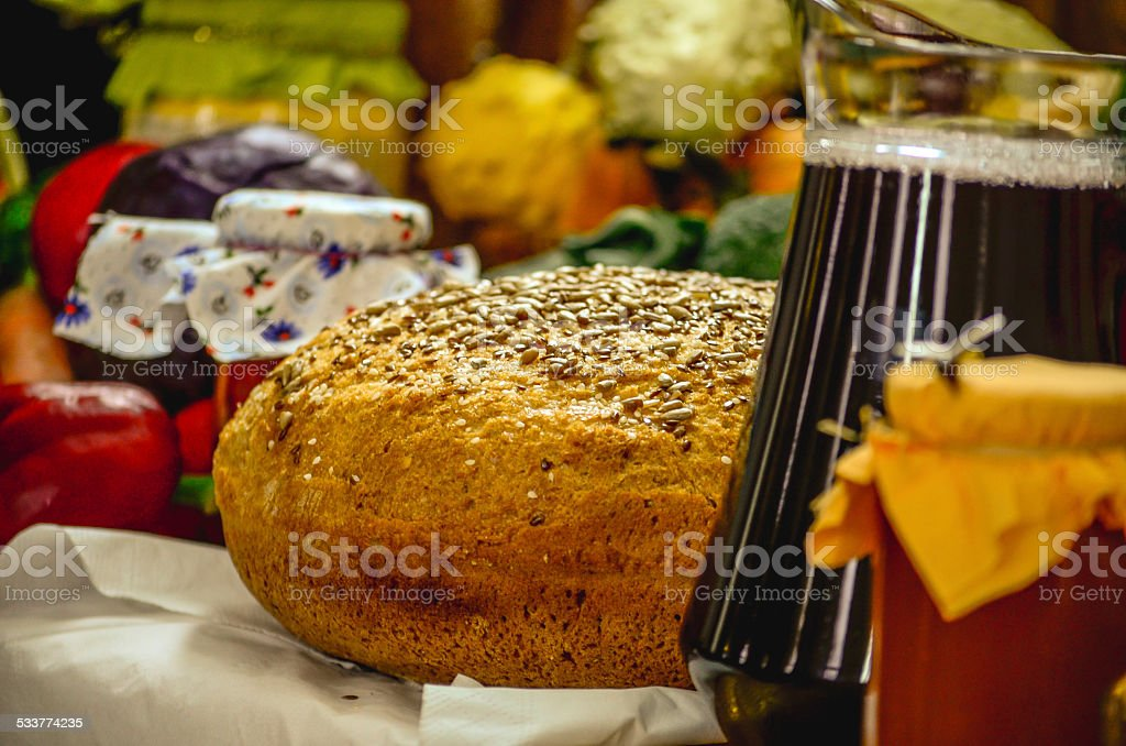 Homemade bread and vine royalty-free stock photo