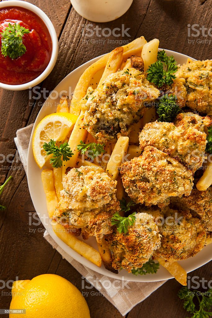 Homemade Breaded Fried Oysters stock photo