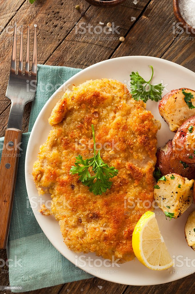 Homemade Breaded German Weiner Schnitzel stock photo