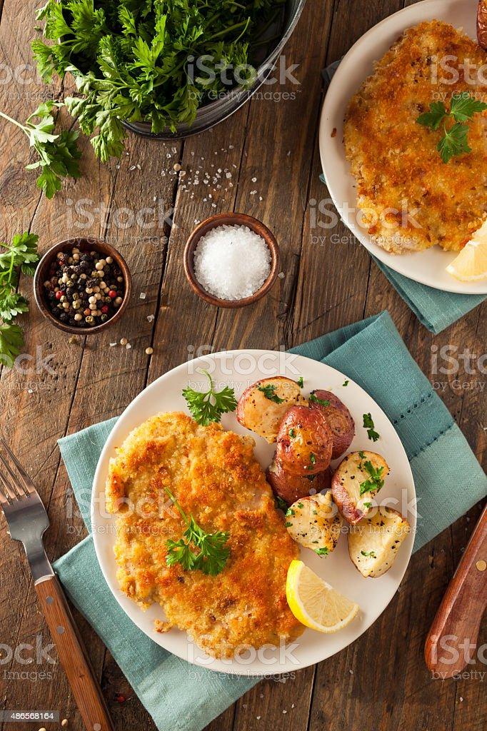 Homemade Breaded German Weiner Schnitzel stock photo
