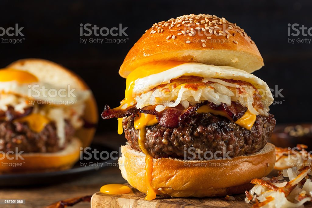 Homemade Breakfast Cheeseburger with Bacon stock photo