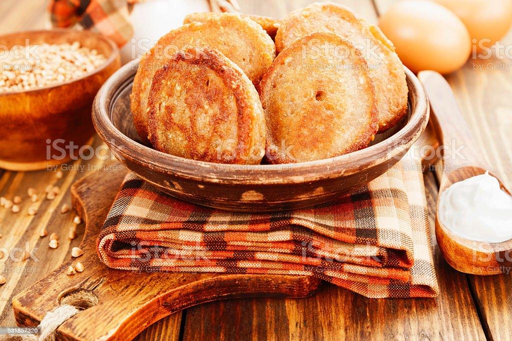 Homemade buckwheat pancakes stock photo