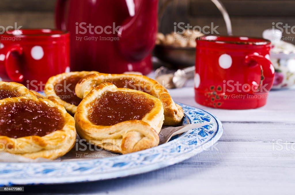 Homemade buns with jam stock photo