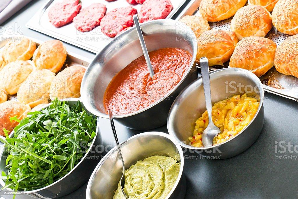 Homemade Burger Ingredients stock photo