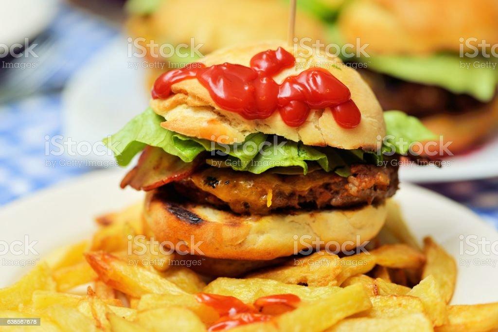 Homemade burgers stock photo