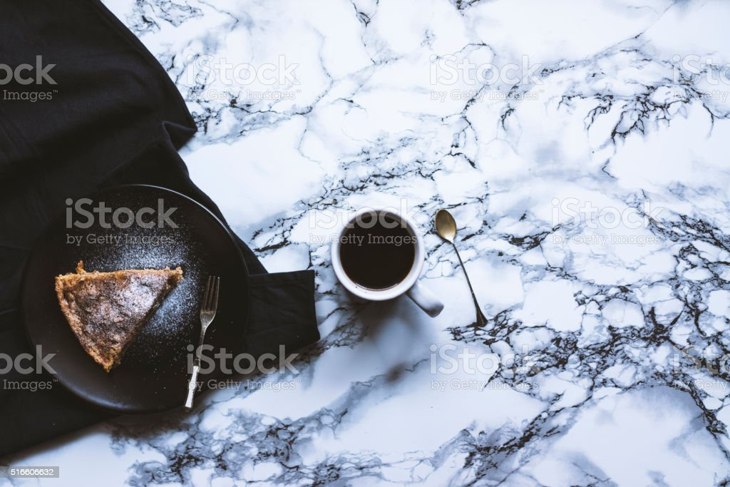 Homemade cake with cup of coffee stock photo