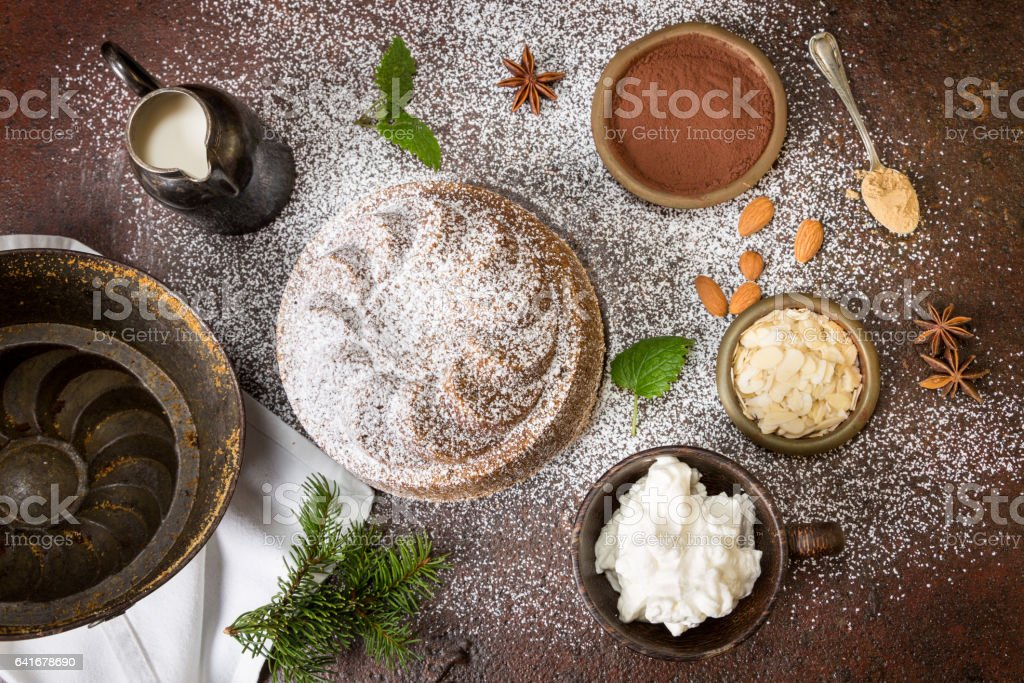 Homemade Cake with Ingredients stock photo