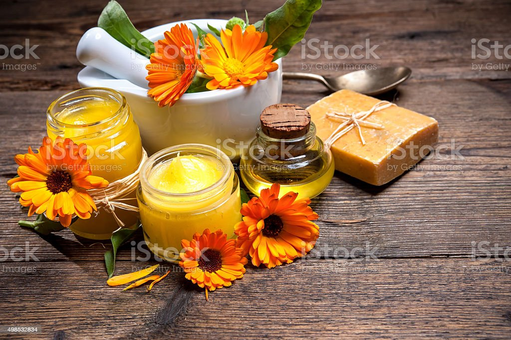 Homemade Calendula Ointment stock photo