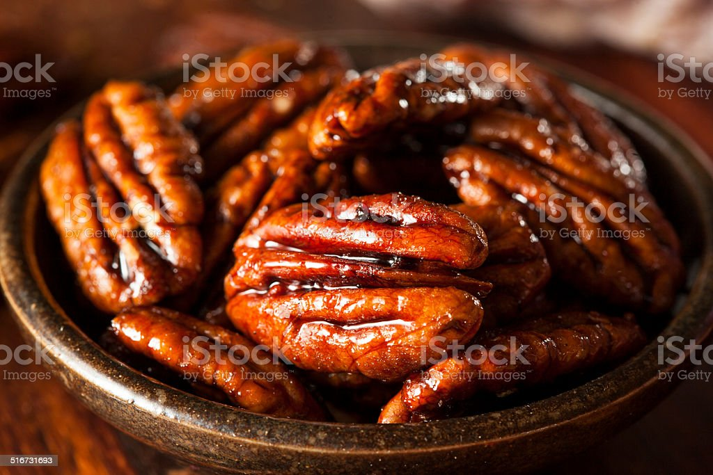 Homemade Candied Pecans with Cinnamon stock photo