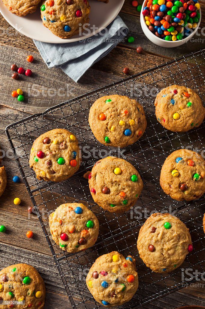 Homemade Candy Coated Chocolate Chip Cookies stock photo