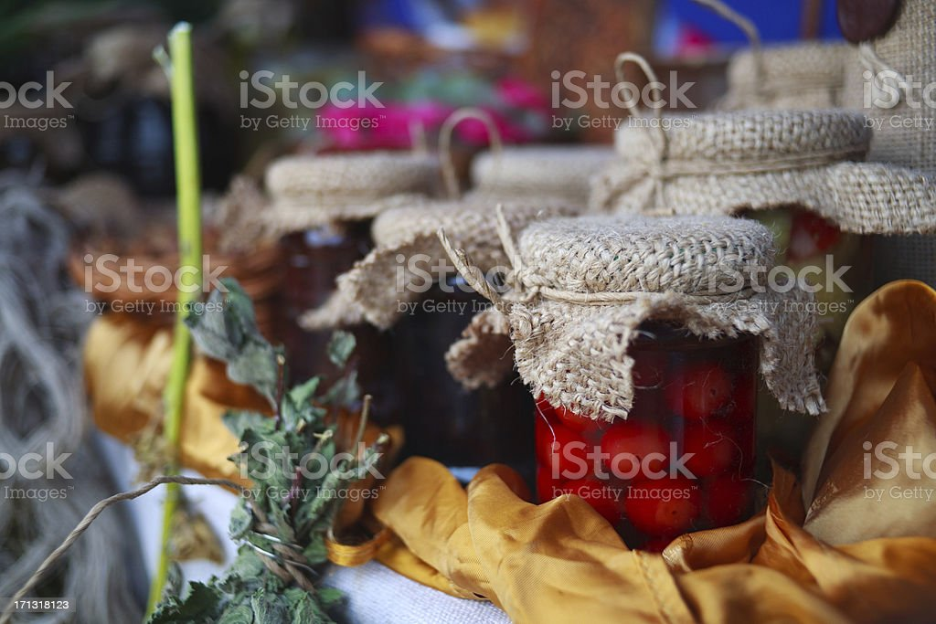 Homemade canned food on stock photo