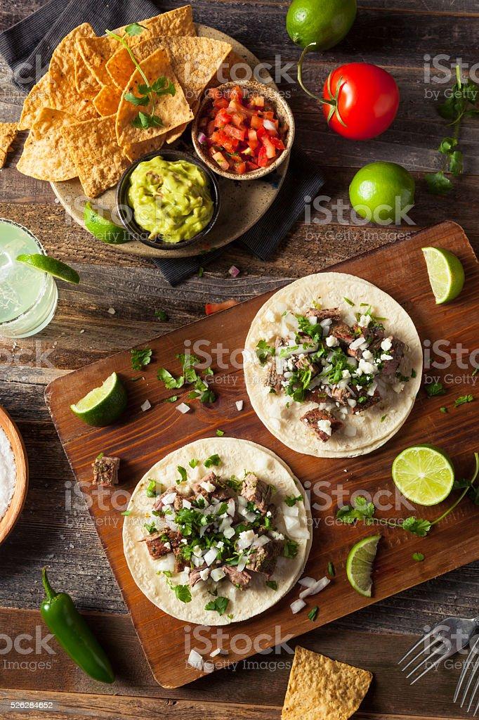 Homemade Carne Asada Street Tacos stock photo