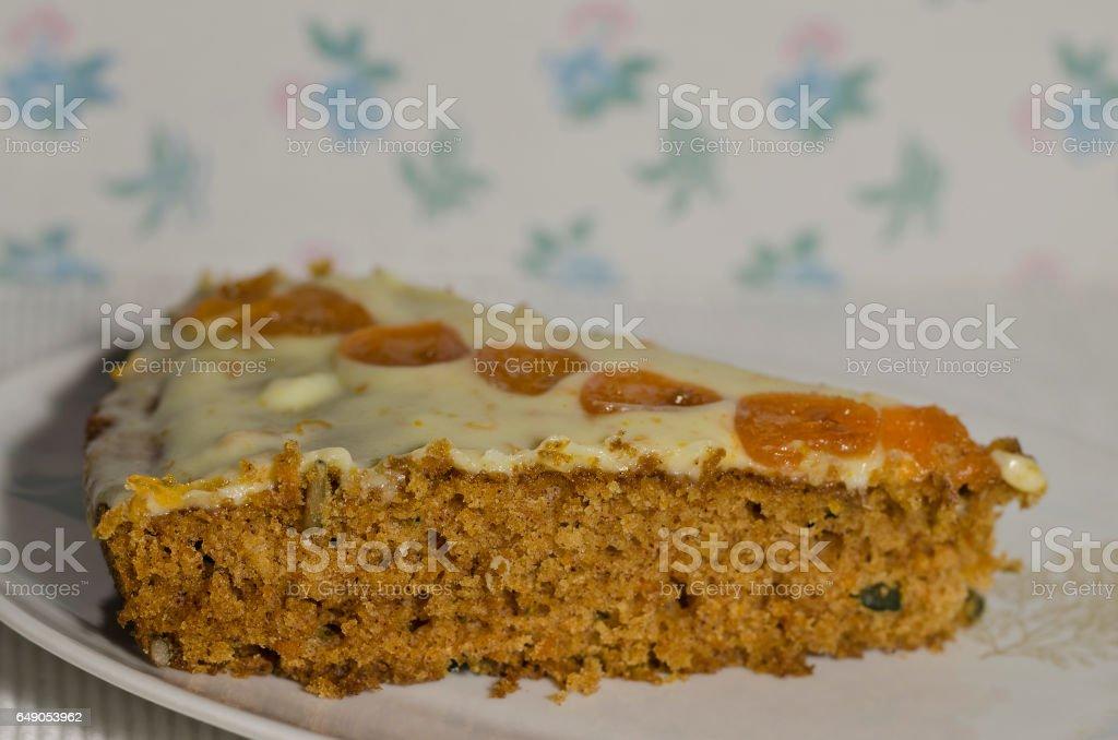 Homemade carrot cake sliced on a plate stock photo