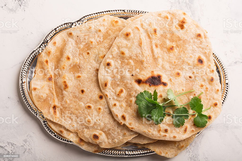 Homemade chapati (Indian bread) stock photo