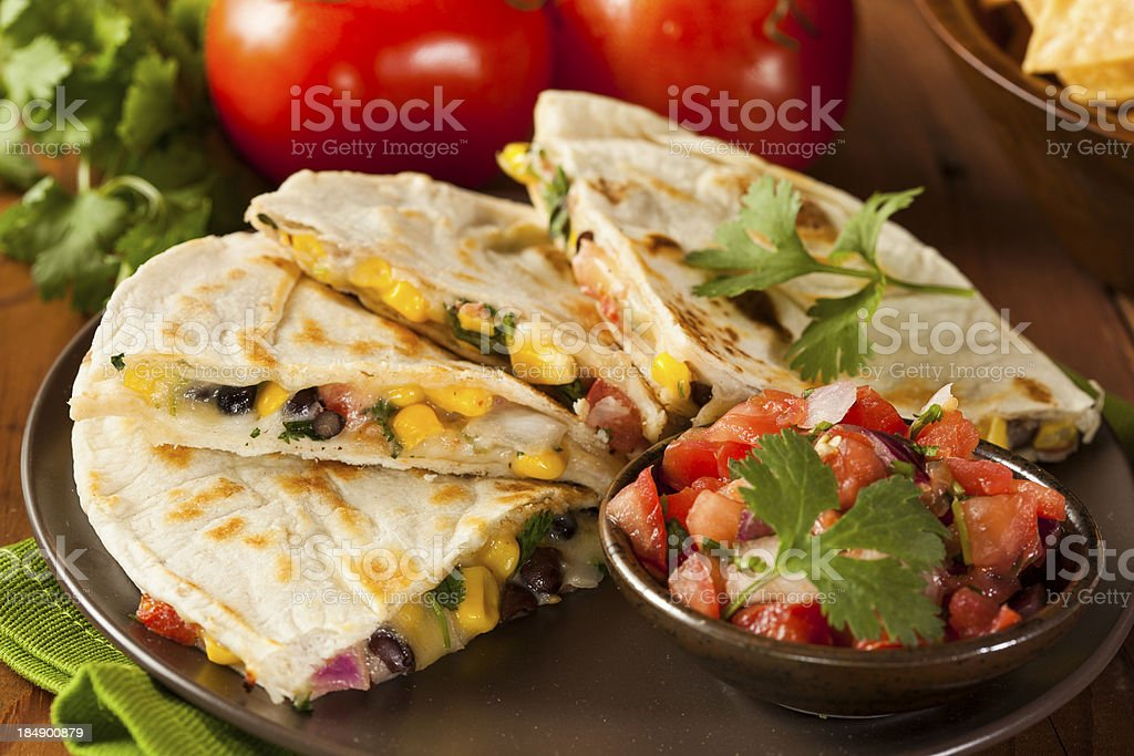 Homemade Cheese and Bean Quesadilla royalty-free stock photo