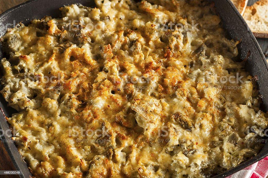 Homemade Cheesy Garlic Artichoke Spread stock photo